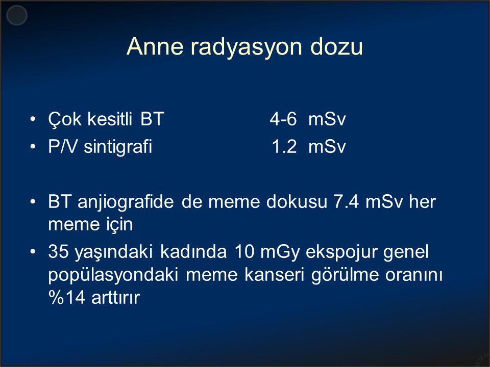 Anne radyasyon dozu Çok kesitli BT 4-6 mSv P/V sintigrafi 1.2 mSv BT anjiografide de meme dokusu 7.4 mSv her meme için 35 yaşındaki kadında 10 mGy eks