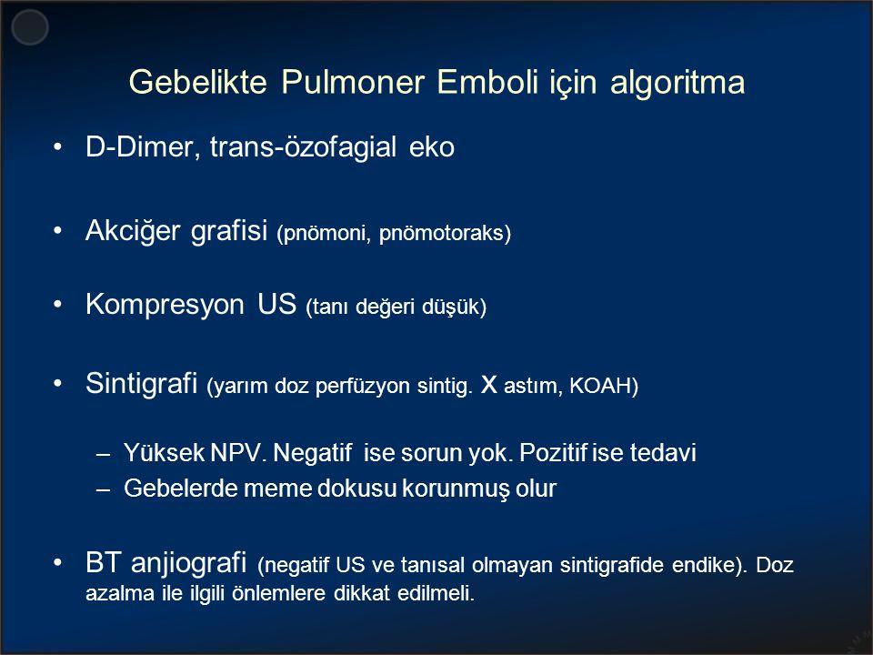 Gebelikte Pulmoner Emboli için algoritma D-Dimer, trans-özofagial eko Akciğer grafisi (pnömoni, pnömotoraks) Kompresyon US (tanı değeri düşük) Sintigr