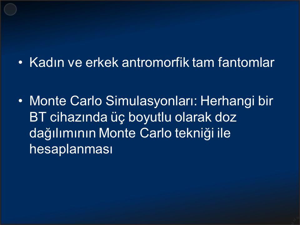 Kadın ve erkek antromorfik tam fantomlar Monte Carlo Simulasyonları: Herhangi bir BT cihazında üç boyutlu olarak doz dağılımının Monte Carlo tekniği i