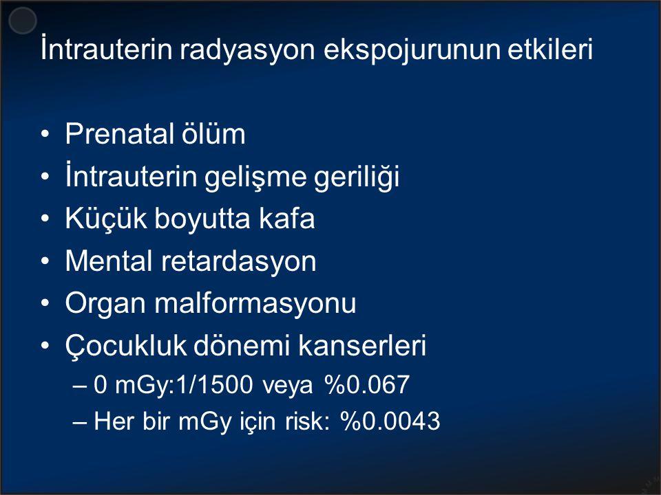 Malformasyon ve çocukluk kanseri olmadan doğma olasılığı Embriyo veya fetusun aldığı doz (mGy) Malformasyon yok Çocukluk çağı kanseri yok Malformasyon yok Çocukluk çağı kanseri yok 096.0099.9395.93 1.095.99899.92195.922 5.095.9999.8995.88 10.095.9899.8495.83 50.095.9099.5195.43 100.095.8099.0794.91 RadioGraphics 2007;27:909-918
