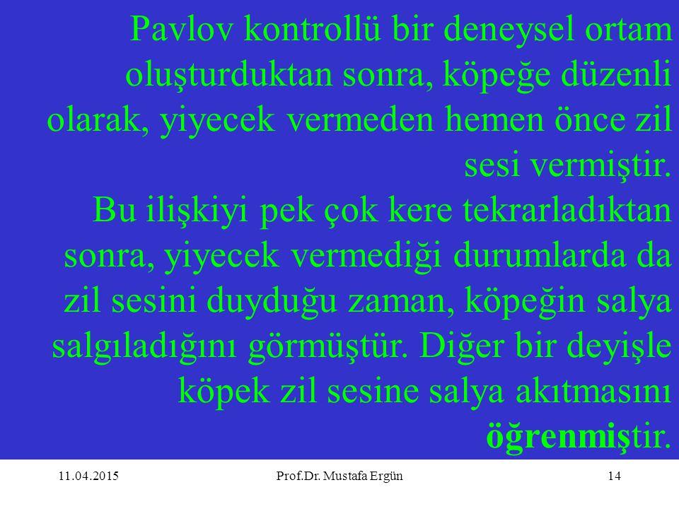11.04.2015Prof.Dr. Mustafa Ergün14 Pavlov kontrollü bir deneysel ortam oluşturduktan sonra, köpeğe düzenli olarak, yiyecek vermeden hemen önce zil ses