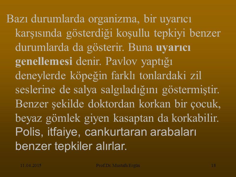 11.04.2015Prof.Dr. Mustafa Ergün18 Bazı durumlarda organizma, bir uyarıcı karşısında gösterdiği koşullu tepkiyi benzer durumlarda da gösterir. Buna uy