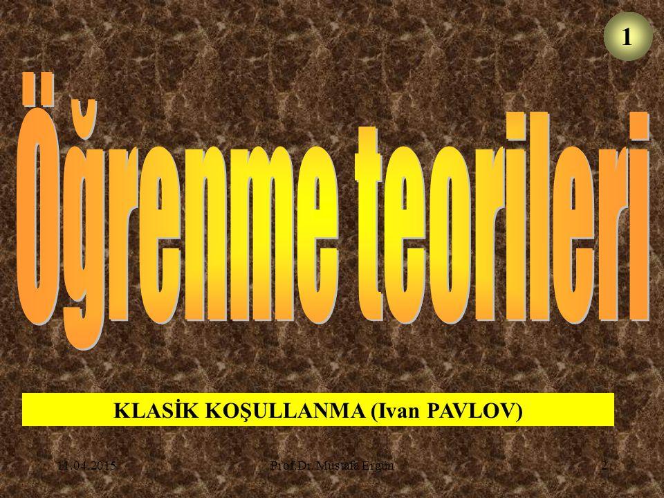 11.04.2015Prof.Dr.Mustafa Ergün23 Bazı boş inançlar da bu biçimde öğrenilebilir.