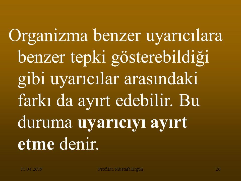 11.04.2015Prof.Dr. Mustafa Ergün20 Organizma benzer uyarıcılara benzer tepki gösterebildiği gibi uyarıcılar arasındaki farkı da ayırt edebilir. Bu dur
