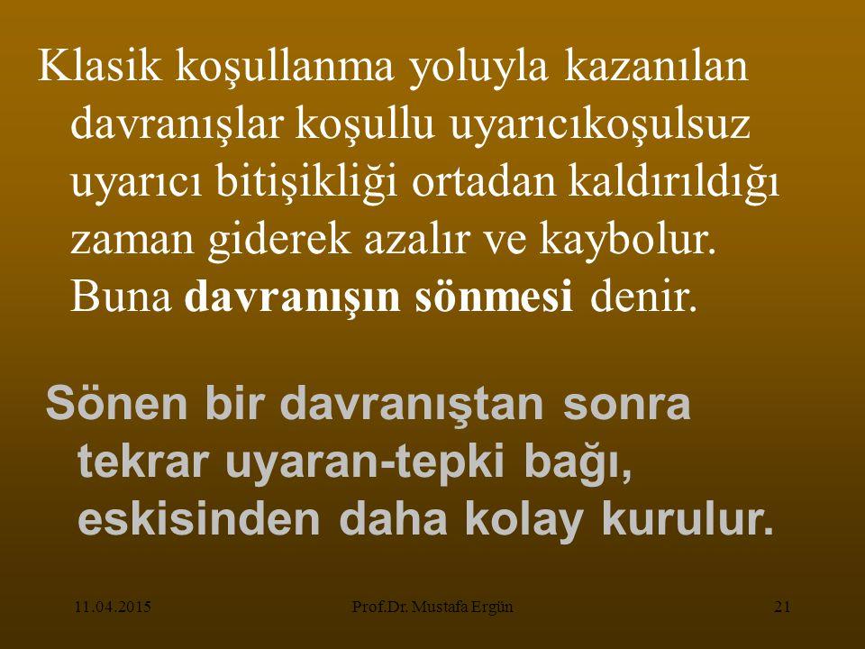 11.04.2015Prof.Dr. Mustafa Ergün21 Klasik koşullanma yoluyla kazanılan davranışlar koşullu uyarıcıkoşulsuz uyarıcı bitişikliği ortadan kaldırıldığı z