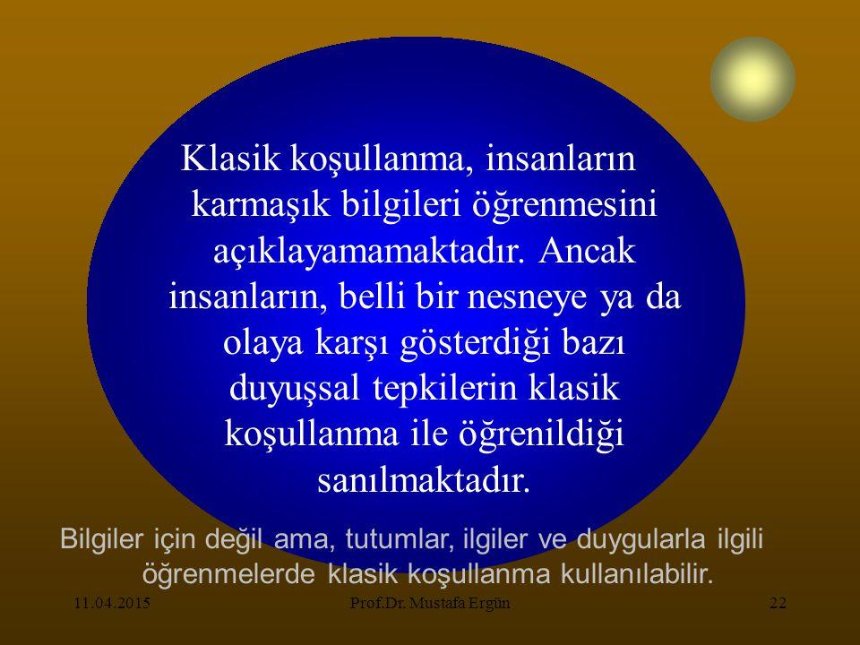 11.04.2015Prof.Dr. Mustafa Ergün22 Klasik koşullanma, insanların karmaşık bilgileri öğrenmesini açıklayamamaktadır. Ancak insanların, belli bir nesney
