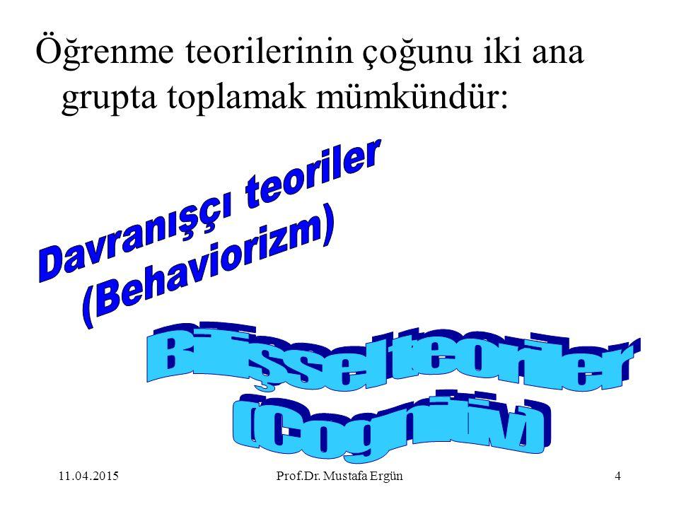 11.04.2015Prof.Dr. Mustafa Ergün4 Öğrenme teorilerinin çoğunu iki ana grupta toplamak mümkündür: