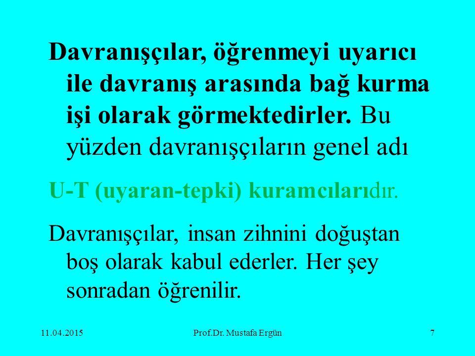 11.04.2015Prof.Dr. Mustafa Ergün7 Davranışçılar, öğrenmeyi uyarıcı ile davranış arasında bağ kurma işi olarak görmektedirler. Bu yüzden davranışçıları