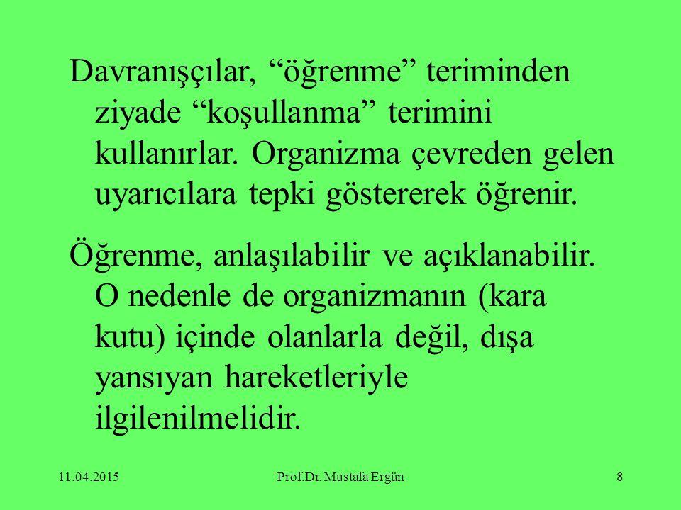"""11.04.2015Prof.Dr. Mustafa Ergün8 Davranışçılar, """"öğrenme"""" teriminden ziyade """"koşullanma"""" terimini kullanırlar. Organizma çevreden gelen uyarıcılara t"""