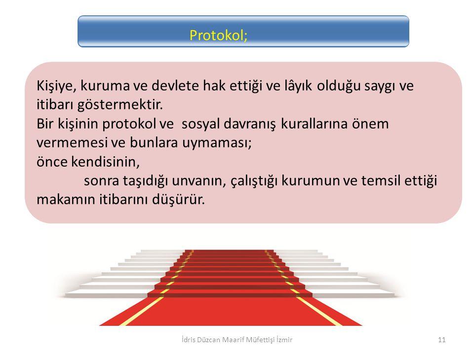 Protokol; Kişiye, kuruma ve devlete hak ettiği ve lâyık olduğu saygı ve itibarı göstermektir. Bir kişinin protokol ve sosyal davranış kurallarına önem