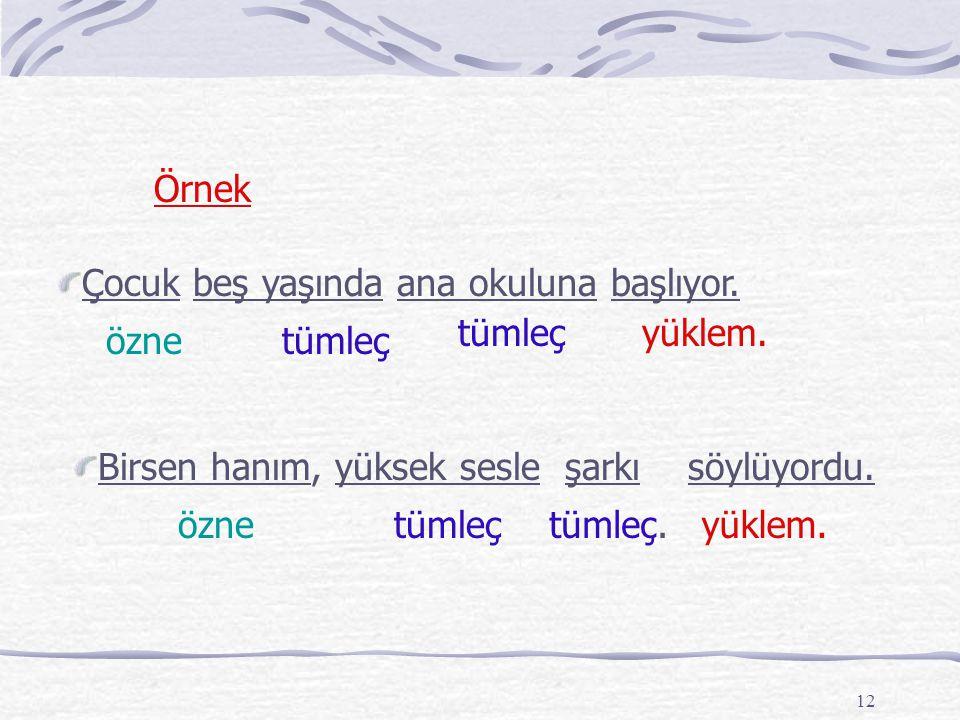 11 Tümleç Tümleçler, yüklemi türlü yönlerden tamamlayan sözcüklerdir. Cümledeki yüklem ve özne dışındaki tüm sözcükler, tümleç görevi yapmaktadır.