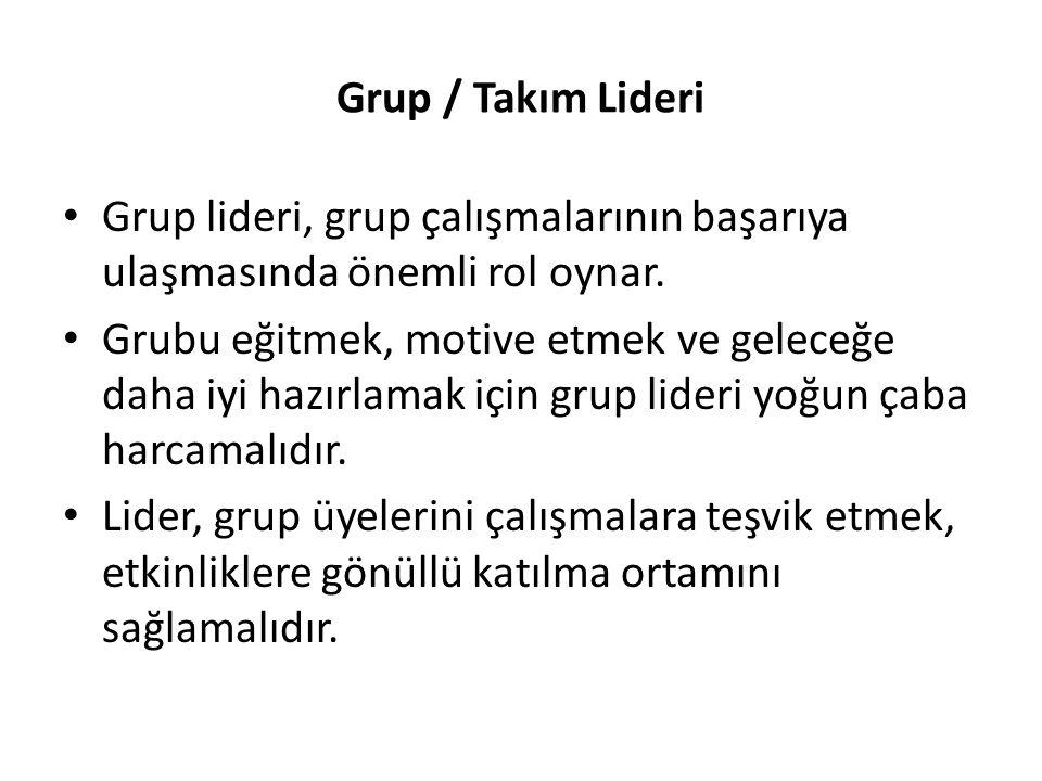 Grup / Takım Lideri Grup lideri, grup çalışmalarının başarıya ulaşmasında önemli rol oynar. Grubu eğitmek, motive etmek ve geleceğe daha iyi hazırlama