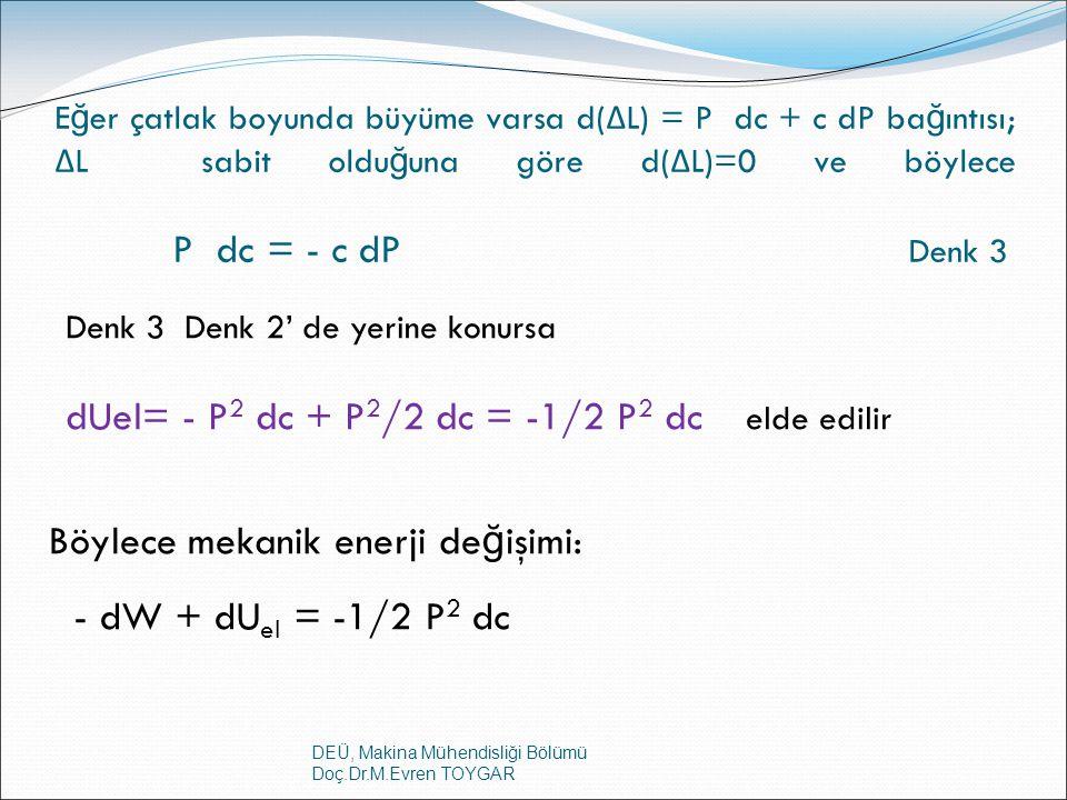 DEÜ, Makina Mühendisliği Bölümü Doç.Dr.M.Evren TOYGAR E ğ er çatlak boyunda büyüme varsa d( Δ L) = P dc + c dP ba ğ ıntısı; Δ L sabit oldu ğ una göre