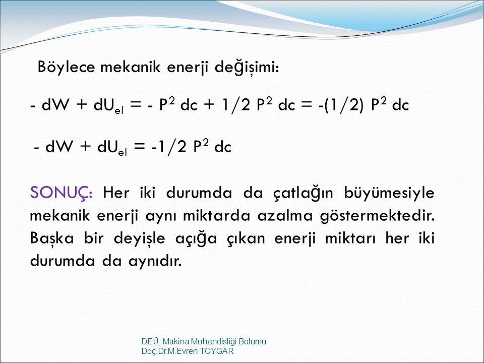 DEÜ, Makina Mühendisliği Bölümü Doç.Dr.M.Evren TOYGAR Böylece mekanik enerji de ğ işimi: - dW + dU el = - P 2 dc + 1/2 P 2 dc = -(1/2) P 2 dc - dW + d