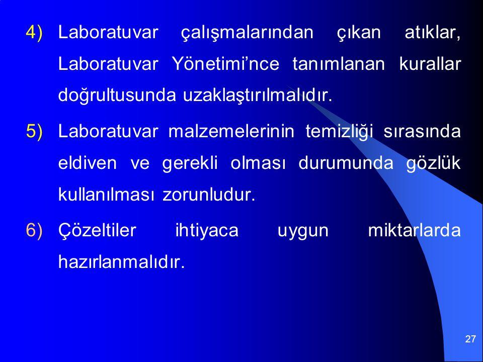 27 4)Laboratuvar çalışmalarından çıkan atıklar, Laboratuvar Yönetimi'nce tanımlanan kurallar doğrultusunda uzaklaştırılmalıdır. 5)Laboratuvar malzemel
