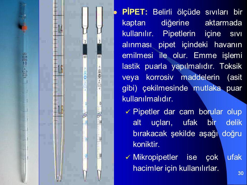 30 PİPET: Belirli ölçüde sıvıları bir kaptan diğerine aktarmada kullanılır. Pipetlerin içine sıvı alınması pipet içindeki havanın emilmesi ile olur. E