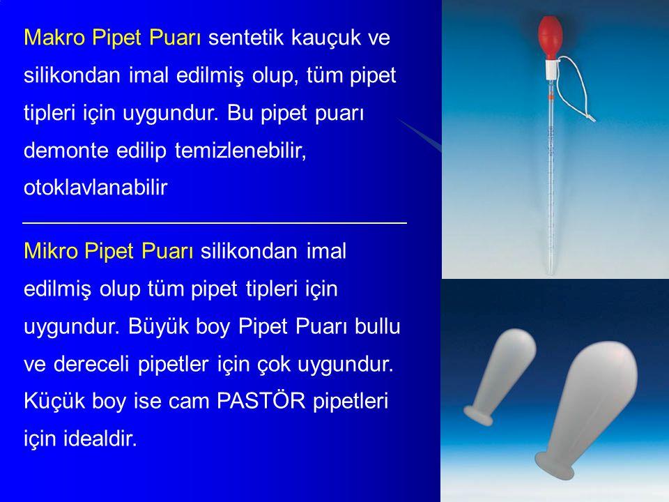 34 Makro Pipet Puarı sentetik kauçuk ve silikondan imal edilmiş olup, tüm pipet tipleri için uygundur. Bu pipet puarı demonte edilip temizlenebilir, o
