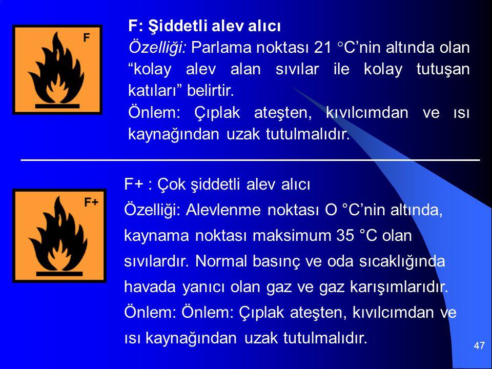 """47 F: Şiddetli alev alıcı Özelliği: Parlama noktası 21 °C'nin altında olan """"kolay alev alan sıvılar ile kolay tutuşan katıları"""" belirtir. Önlem: Çıpla"""