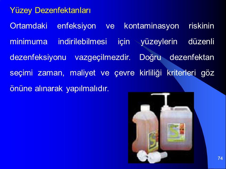 74 Yüzey Dezenfektanları Ortamdaki enfeksiyon ve kontaminasyon riskinin minimuma indirilebilmesi için yüzeylerin düzenli dezenfeksiyonu vazgeçilmezdir