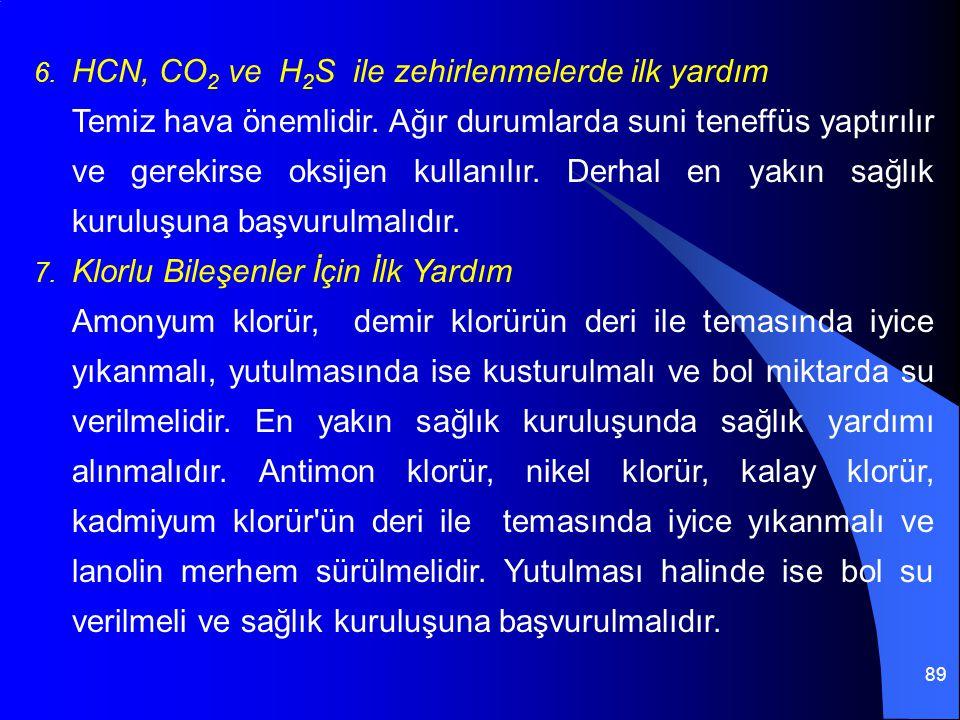 89 6. HCN, CO 2 ve H 2 S ile zehirlenmelerde ilk yardım Temiz hava önemlidir. Ağır durumlarda suni teneffüs yaptırılır ve gerekirse oksijen kullanılır