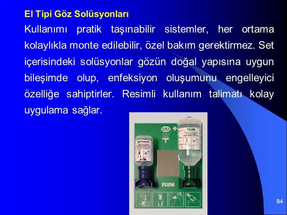 94 El Tipi Göz Solüsyonları Kullanımı pratik taşınabilir sistemler, her ortama kolaylıkla monte edilebilir, özel bakım gerektirmez. Set içerisindeki s