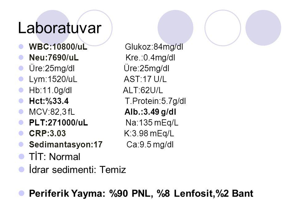 Laboratuvar WBC:10800/uL Glukoz:84mg/dl Neu:7690/uL Kre.:0.4mg/dl Üre:25mg/dl Üre:25mg/dl Lym:1520/uL AST:17 U/L Hb:11.0g/dl ALT:62U/L Hct:%33.4 T.Protein:5.7g/dl MCV:82,3 fL Alb.:3.49 g/dl PLT:271000/uL Na:135 mEq/L CRP:3.03 K:3.98 mEq/L Sedimantasyon:17 Ca:9.5 mg/dl TİT: Normal İdrar sedimenti: Temiz Periferik Yayma: %90 PNL, %8 Lenfosit,%2 Bant