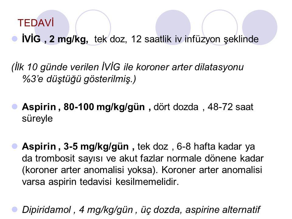 TEDAVİ İVİG, 2 mg/kg, tek doz, 12 saatlik iv infüzyon şeklinde (İlk 10 günde verilen İVİG ile koroner arter dilatasyonu %3'e düştüğü gösterilmiş.) Aspirin, 80-100 mg/kg/gün, dört dozda, 48-72 saat süreyle Aspirin, 3-5 mg/kg/gün, tek doz, 6-8 hafta kadar ya da trombosit sayısı ve akut fazlar normale dönene kadar (koroner arter anomalisi yoksa).