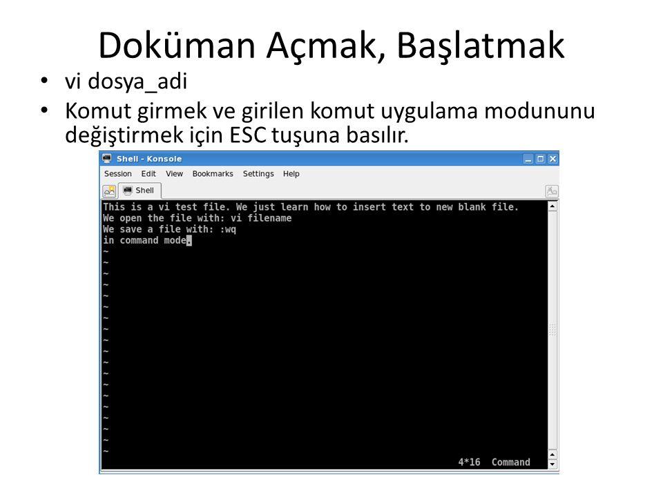 Doküman Açmak, Başlatmak vi dosya_adi Komut girmek ve girilen komut uygulama modununu değiştirmek için ESC tuşuna basılır.