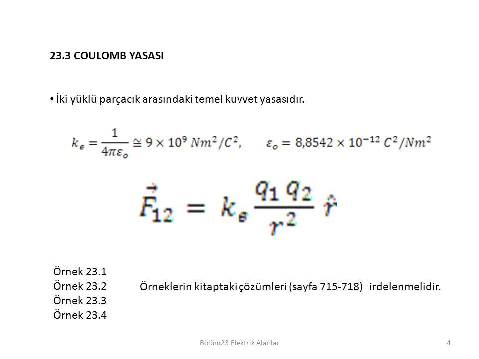 Bölüm23 Elektrik Alanlar4 23.3 COULOMB YASASI İki yüklü parçacık arasındaki temel kuvvet yasasıdır. Örnek 23.1 Örnek 23.2 Örnek 23.3 Örnek 23.4 Örnekl