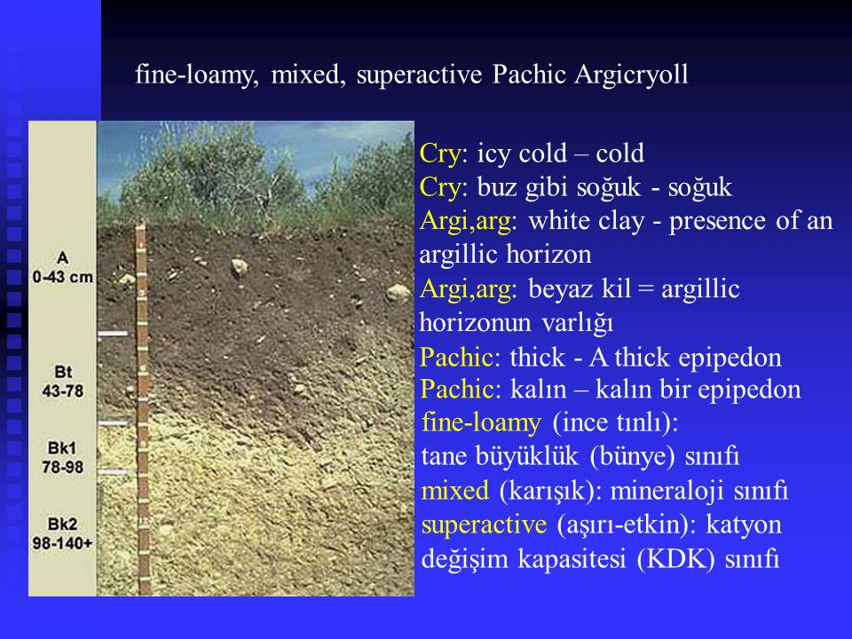 fine-loamy, mixed, superactive Pachic Argicryoll Cry: icy cold – cold Cry: buz gibi soğuk - soğuk Pachic: thick - A thick epipedon Pachic: kalın – kal