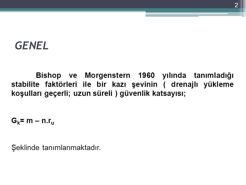 GENEL 2 Bishop ve Morgenstern 1960 yılında tanımladığı stabilite faktörleri ile bir kazı şevinin ( drenajlı yükleme koşulları geçerli; uzun süreli ) g