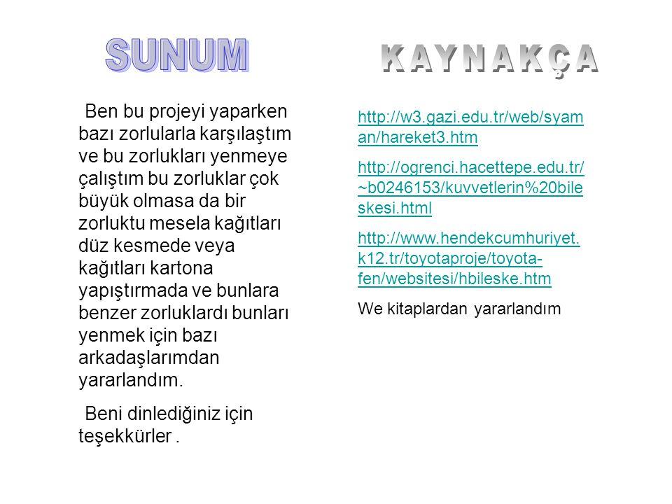 http://w3.gazi.edu.tr/web/syam an/hareket3.htm http://ogrenci.hacettepe.edu.tr/ ~b0246153/kuvvetlerin%20bile skesi.html http://www.hendekcumhuriyet.