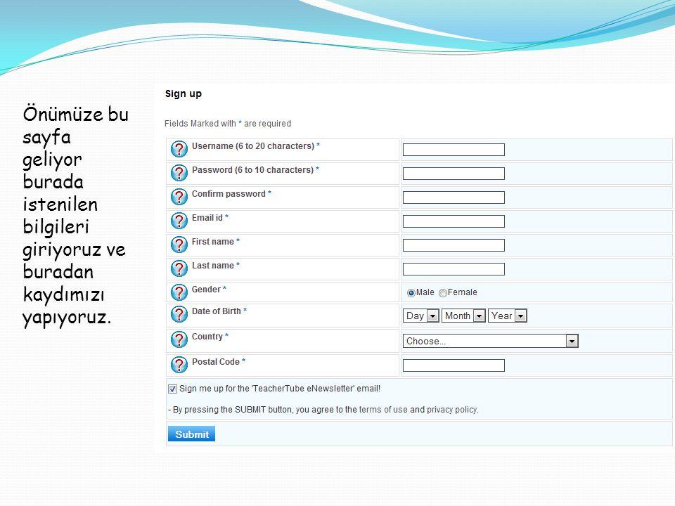Burada kullanıcı ismimizi istiyor. Burada password istiyor. Password tekrarlama.