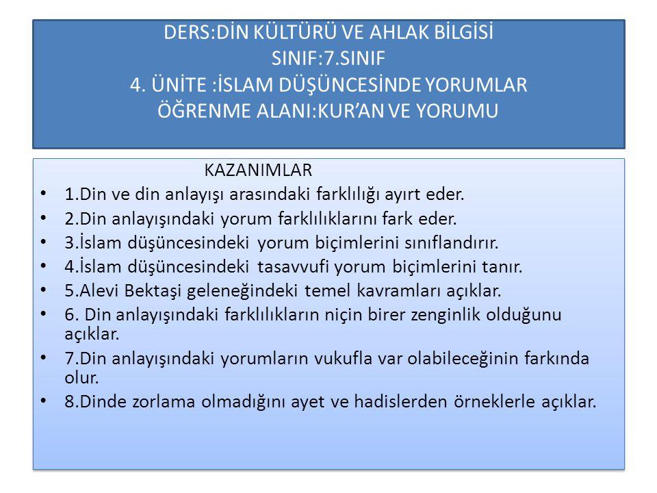 DERS:DİN KÜLTÜRÜ VE AHLAK BİLGİSİ SINIF:7.SINIF 4. ÜNİTE :İSLAM DÜŞÜNCESİNDE YORUMLAR ÖĞRENME ALANI:KUR'AN VE YORUMU KAZANIMLAR 1.Din ve din anlayışı