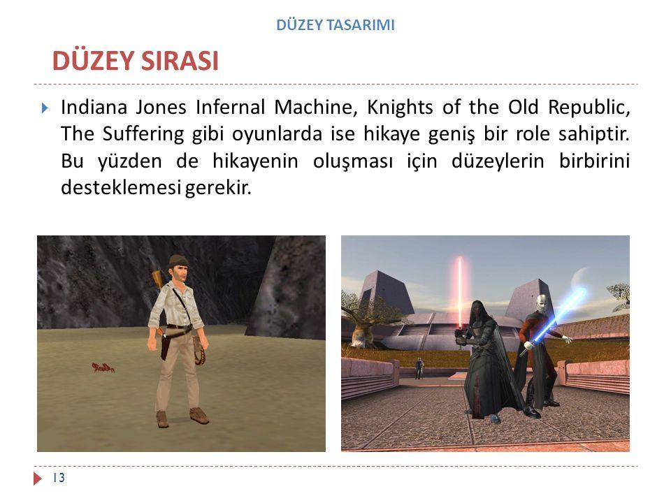 DÜZEY TASARIMI  Indiana Jones Infernal Machine, Knights of the Old Republic, The Suffering gibi oyunlarda ise hikaye geniş bir role sahiptir. Bu yüzd