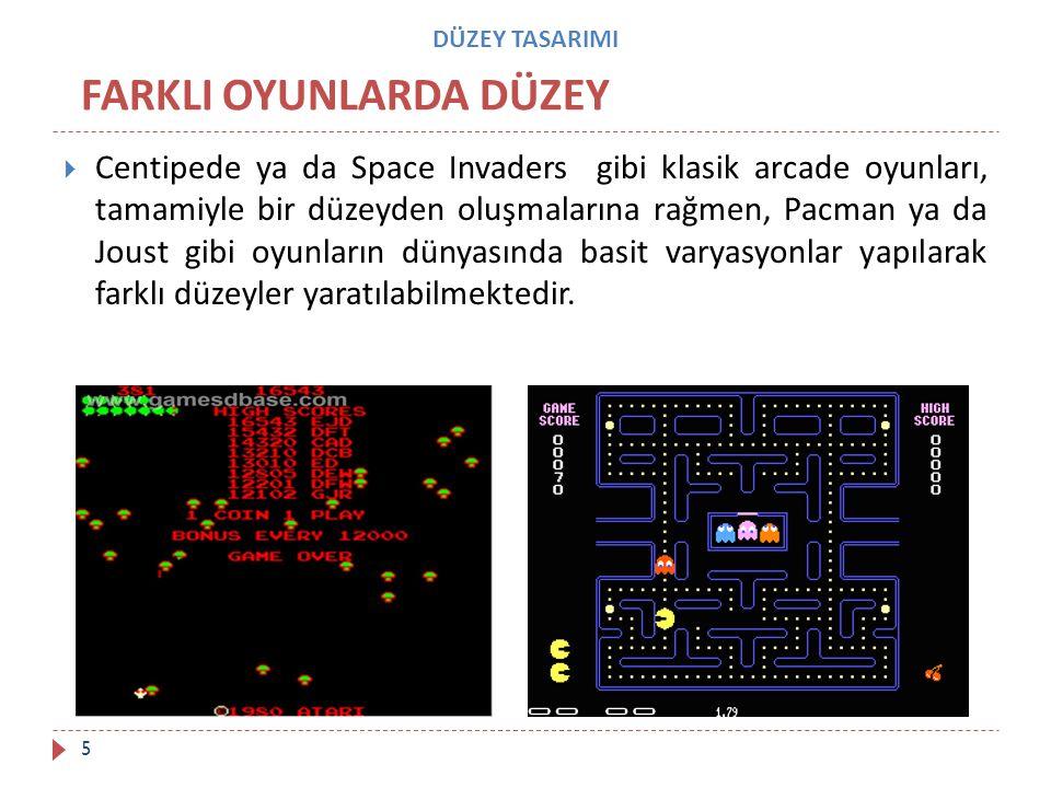 DÜZEY TASARIMI  Centipede ya da Space Invaders gibi klasik arcade oyunları, tamamiyle bir düzeyden oluşmalarına rağmen, Pacman ya da Joust gibi oyunl