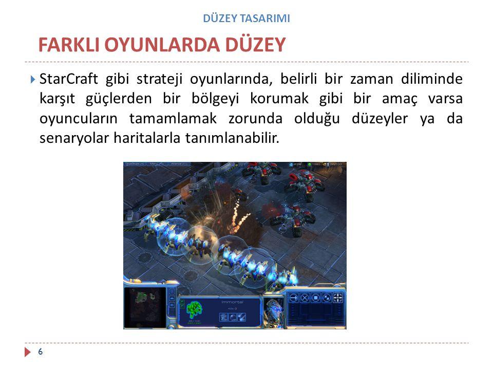 DÜZEY TASARIMI  StarCraft gibi strateji oyunlarında, belirli bir zaman diliminde karşıt güçlerden bir bölgeyi korumak gibi bir amaç varsa oyuncuların
