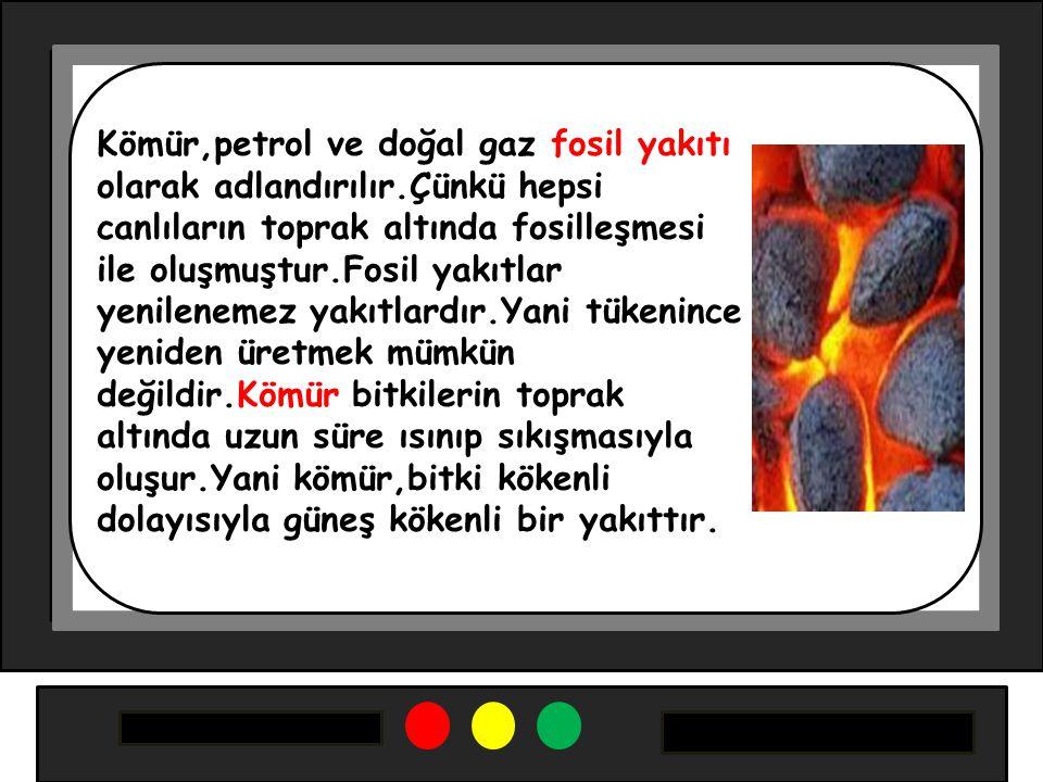Kömür,petrol ve doğal gaz fosil yakıtı olarak adlandırılır.Çünkü hepsi canlıların toprak altında fosilleşmesi ile oluşmuştur.Fosil yakıtlar yenileneme