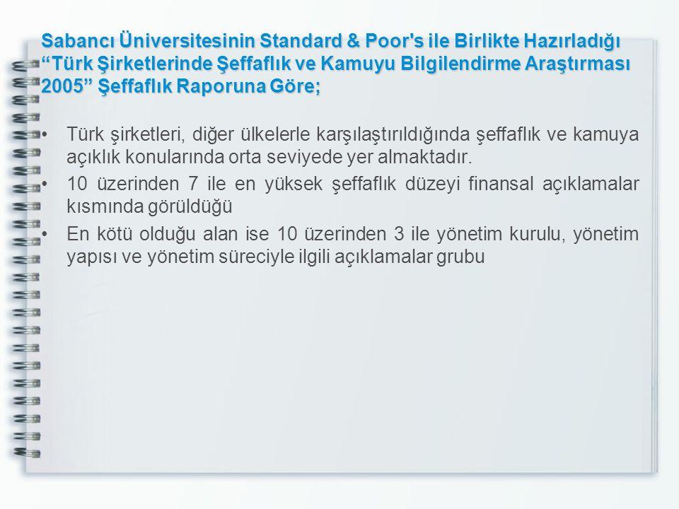 """Sabancı Üniversitesinin Standard & Poor's ile Birlikte Hazırladığı """"Türk Şirketlerinde Şeffaflık ve Kamuyu Bilgilendirme Araştırması 2005"""" Şeffaflık R"""
