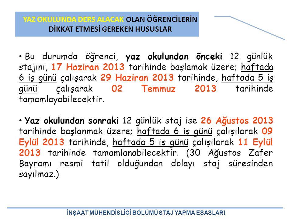 Bu durumda öğrenci, yaz okulundan önceki 12 günlük stajını, 17 Haziran 2013 tarihinde başlamak üzere; haftada 6 iş günü çalışarak 29 Haziran 2013 tarihinde, haftada 5 iş günü çalışarak 02 Temmuz 2013 tarihinde tamamlayabilecektir.