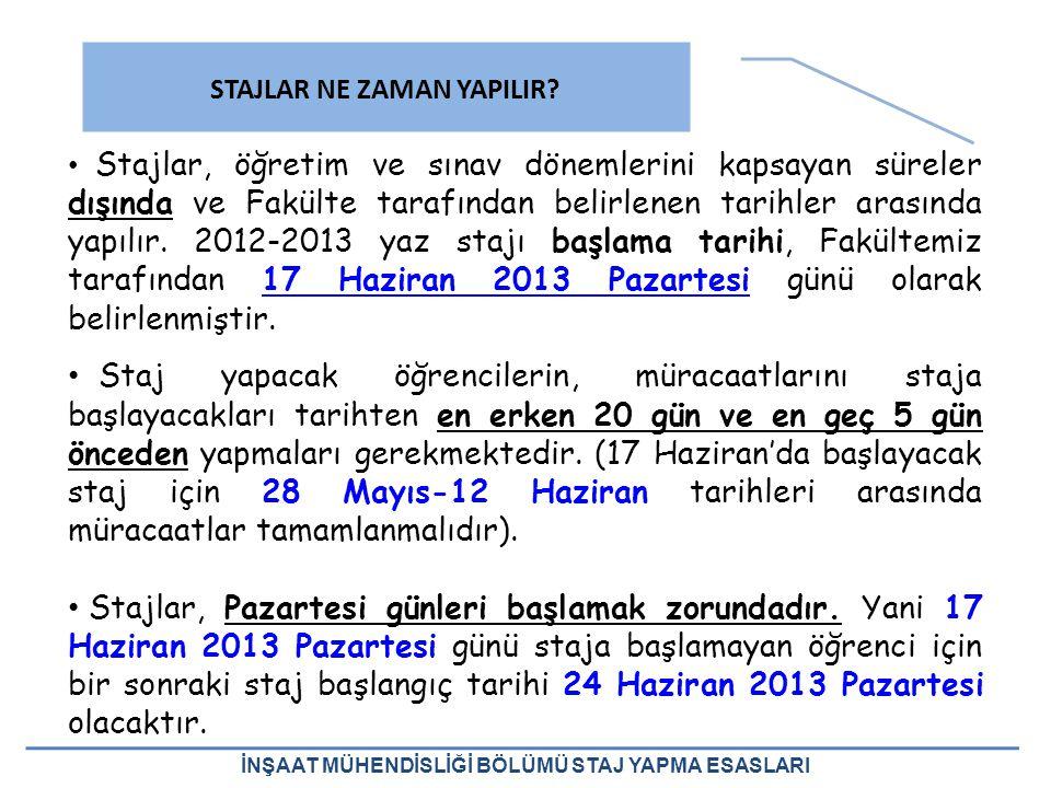 2012-2013 Yaz Stajı kapsamında şantiye stajı ve/veya büro stajı yapacak olan öğrenci, stajını/stajlarını 2013-2014 Güz Yarıyılı kayıtlarının başlangıç tarihine kadar tamamlamak zorundadır.