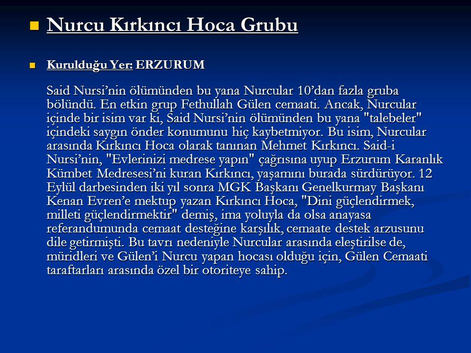 Nurcu Kırkıncı Hoca Grubu Nurcu Kırkıncı Hoca Grubu Kurulduğu Yer: ERZURUM Said Nursi'nin ölümünden bu yana Nurcular 10'dan fazla gruba bölündü. En et