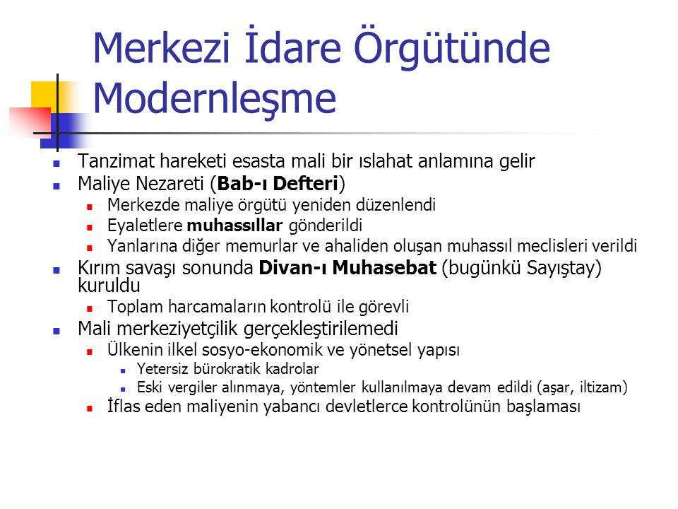 Belediye Örgütünün Kurulması İstanbul (1854), Selanik, Beyrut, İzmir gibi kentlerde belediye idareleri, 1877 Belediye kanunu çıkmadan kurulmuşlardır Hükümetçe tayin edilen bir Şehremini ile Bab-ı Ali'nin seçimi ve padişahın tayini ile görevlendirilen üyelerden (esnaf ve ileri gelen memurlar) kurulu bir Şehremaneti Meclisi Yetkisi sınırlıdır, bağımsız gelirlere sahip değildir, personeli yetersizdir Taşrada uygulama cılız kalmıştır İmparatorluk Cumhuriyet'e giderek modernleşen bir belediye örgüt ve hizmetleri bırakmıştır ama gelişen bir demokratik katılım sistemi bırakmamıştır Ülkemizde yerel yönetimlerin mali kaynaklarını ve kadrolarını kontrol biçiminde gerçekleştirilen merkezi yönetim baskısı bir gelenek halini almıştır