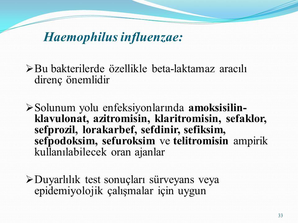 33 Haemophilus influenzae:  Bu bakterilerde özellikle beta-laktamaz aracılı direnç önemlidir  Solunum yolu enfeksiyonlarında amoksisilin- klavulonat, azitromisin, klaritromisin, sefaklor, sefprozil, lorakarbef, sefdinir, sefiksim, sefpodoksim, sefuroksim ve telitromisin ampirik kullanılabilecek oran ajanlar  Duyarlılık test sonuçları sürveyans veya epidemiyolojik çalışmalar için uygun