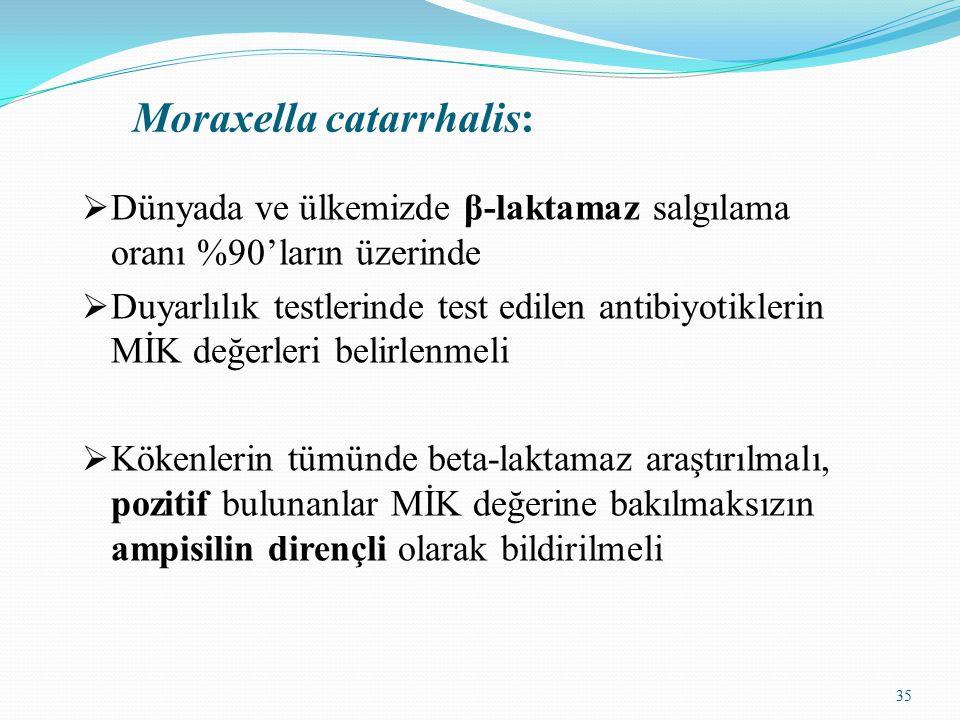 35 Moraxella catarrhalis:  Dünyada ve ülkemizde β-laktamaz salgılama oranı %90'ların üzerinde  Duyarlılık testlerinde test edilen antibiyotiklerin MİK değerleri belirlenmeli  Kökenlerin tümünde beta-laktamaz araştırılmalı, pozitif bulunanlar MİK değerine bakılmaksızın ampisilin dirençli olarak bildirilmeli
