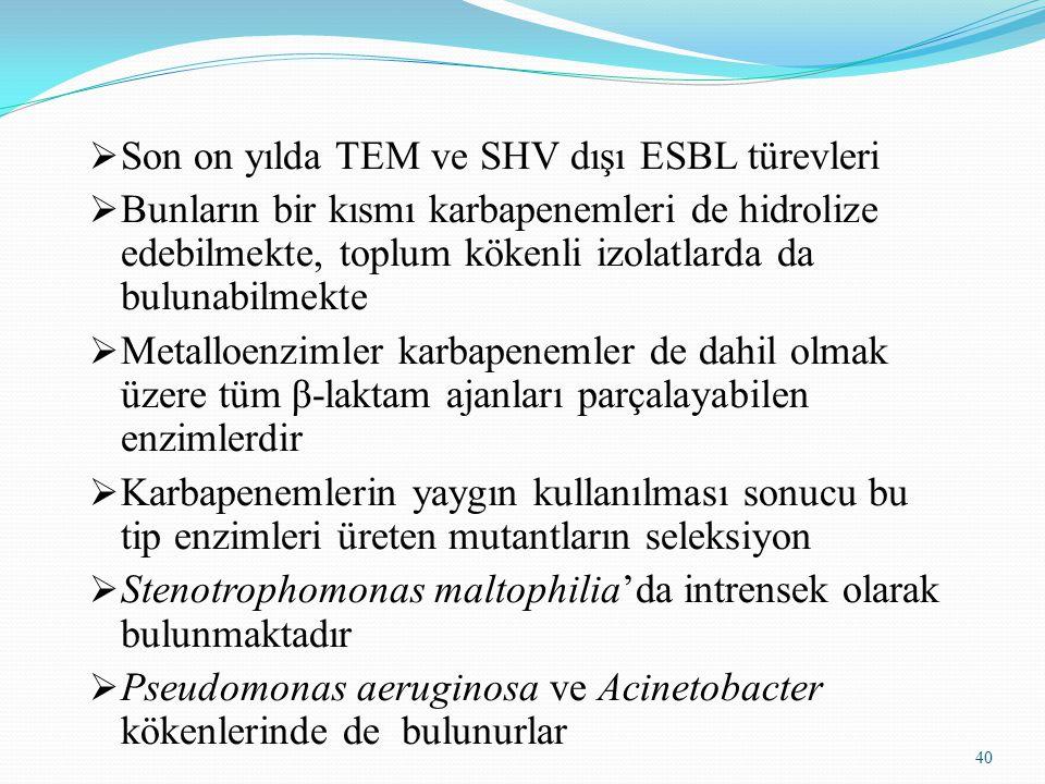 40  Son on yılda TEM ve SHV dışı ESBL türevleri  Bunların bir kısmı karbapenemleri de hidrolize edebilmekte, toplum kökenli izolatlarda da bulunabilmekte  Metalloenzimler karbapenemler de dahil olmak üzere tüm β-laktam ajanları parçalayabilen enzimlerdir  Karbapenemlerin yaygın kullanılması sonucu bu tip enzimleri üreten mutantların seleksiyon  Stenotrophomonas maltophilia'da intrensek olarak bulunmaktadır  Pseudomonas aeruginosa ve Acinetobacter kökenlerinde de bulunurlar