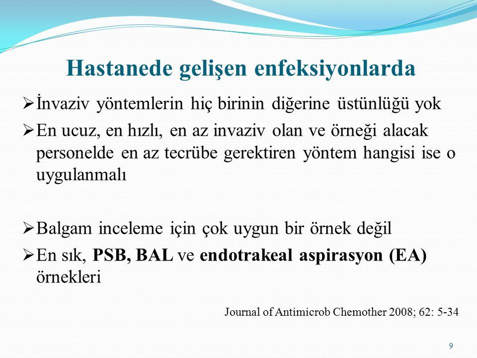 10 Kantitatif kültürün rolü  Antibiyotik tedavisinde değişiklik yoksa BAL kültürleri negatif olgularda antibiyotik kesilebilir  BAL örneklerinin, kalitatif kültürlerinin tekrarlanabilirliği yüksek  Kantitatif kültürler ile %20 yanlış tanı  PSB ve BAL örneklerinin kantitatif kültürleri güvenilir değil Journal of Antimicrob Chemother 2008; 62: 5-34