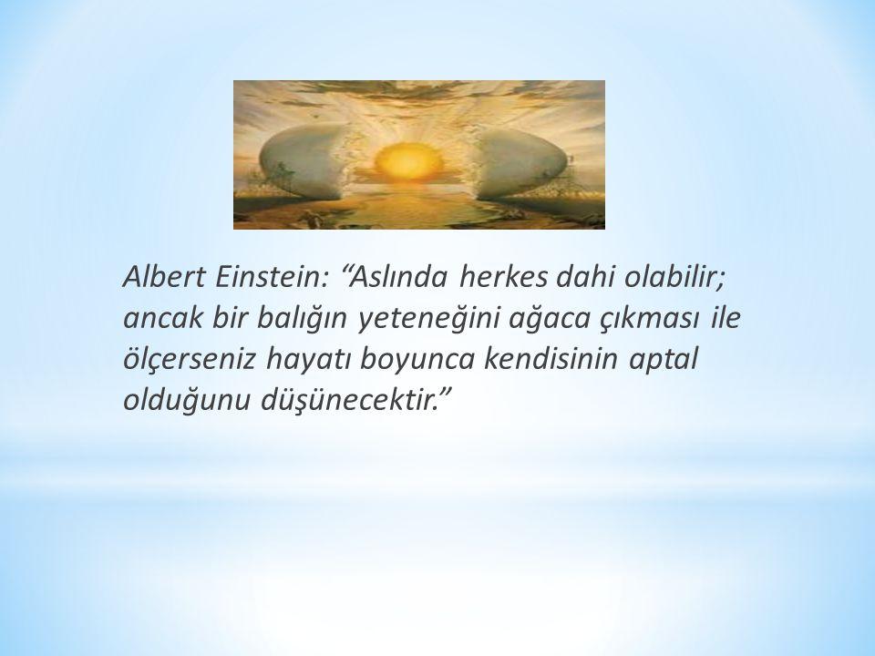"""Albert Einstein: """"Aslında herkes dahi olabilir; ancak bir balığın yeteneğini ağaca çıkması ile ölçerseniz hayatı boyunca kendisinin aptal olduğunu düş"""