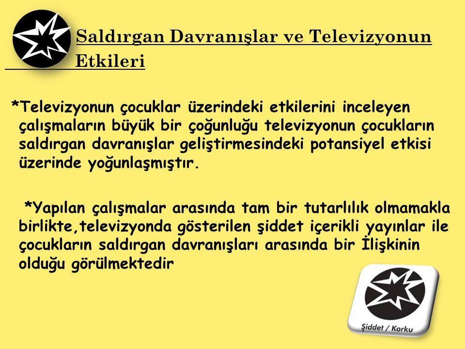 Saldırgan Davranışlar ve Televizyonun Etkileri *Televizyonun çocuklar üzerindeki etkilerini inceleyen çalışmaların büyük bir çoğunluğu televizyonun ço