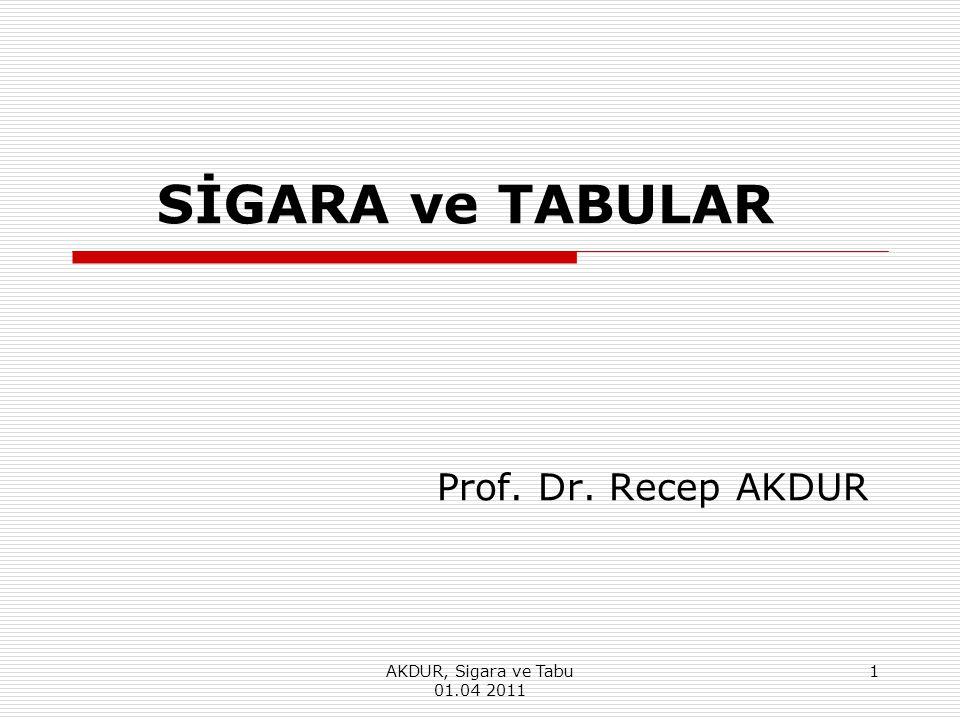 AKDUR, Sigara ve Tabu 01.04 2011 1 SİGARA ve TABULAR Prof. Dr. Recep AKDUR